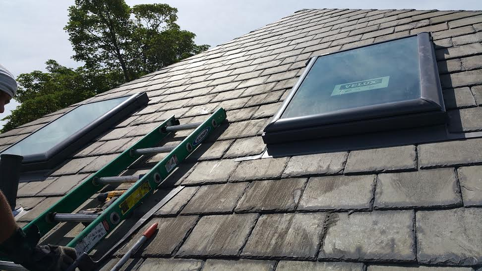 close up two skylights rhode island slate roofing. Black Bedroom Furniture Sets. Home Design Ideas